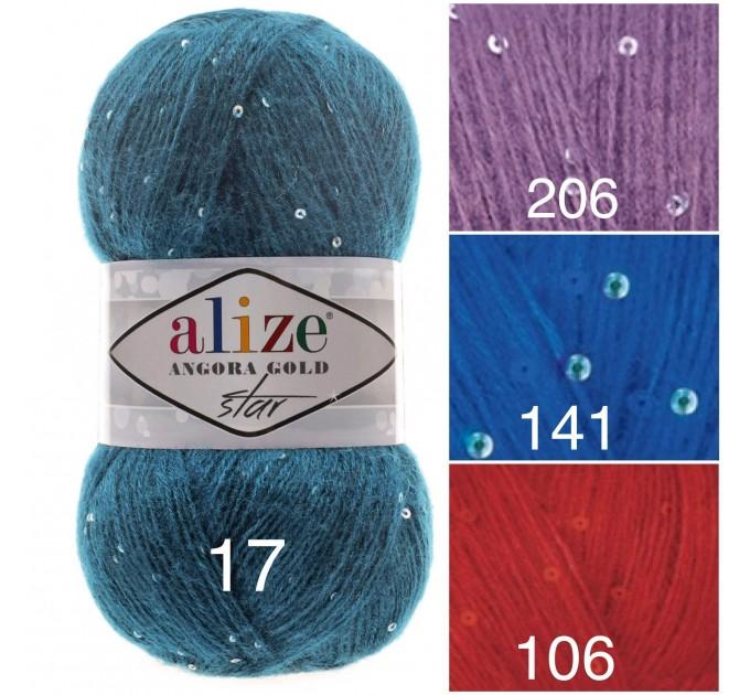 Alize ANGORA GOLD STAR Yarn Rainbow PayetteYarn Metallic Shiny Effect Wool Mohair Acrylic Crochet Shawl Poncho Knitting Sweater  Yarn  1