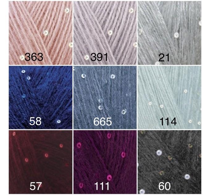Alize ANGORA GOLD STAR Yarn Rainbow PayetteYarn Metallic Shiny Effect Wool Mohair Acrylic Crochet Shawl Poncho Knitting Sweater  Yarn  3