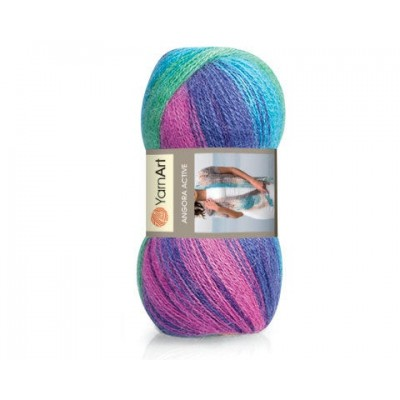 YARNART ANGORA ACTIVE Yarn Mohair Multicolor Yarn Rainbow Melange Yarn Wool Gradient Yarn Knitting Sweater Hat Scarf Shawl Crochet Poncho