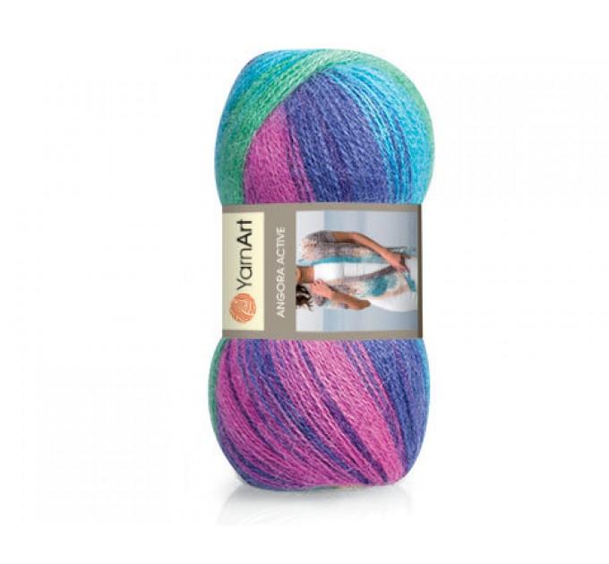 YARNART ANGORA ACTIVE Yarn Mohair Multicolor Yarn Rainbow Melange Yarn Wool Gradient Yarn Knitting Sweater Hat Scarf Shawl Crochet Poncho  Yarn  1