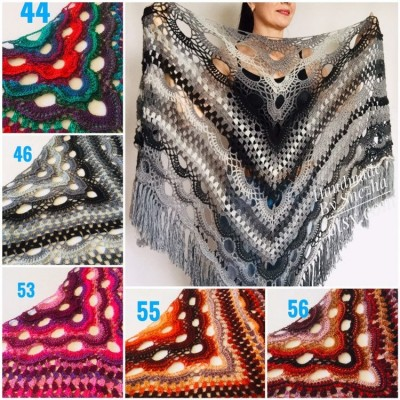 Crochet Shawl Wraps Outlander knitted festival woman Burnt Orange Triangle Scarf Fringe Multicolor Lace Evening Shawl Gray White Blue