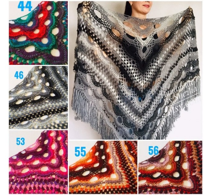 Crochet Shawl Wraps Outlander knitted festival woman Burnt Orange Triangle Scarf Fringe Multicolor Lace Evening Shawl Gray White Blue  Shawl / Wraps  1