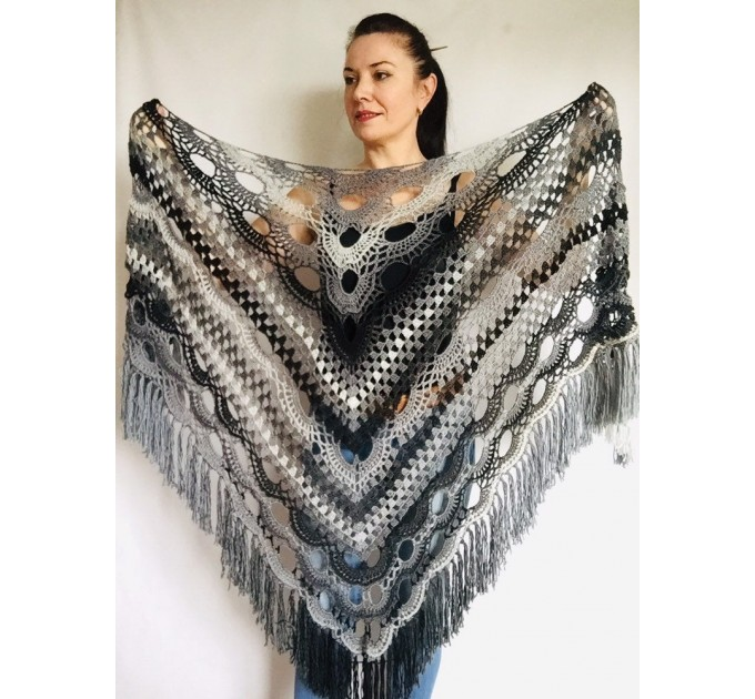 Crochet Shawl Wraps Outlander knitted festival woman Burnt Orange Triangle Scarf Fringe Multicolor Lace Evening Shawl Gray White Blue  Shawl / Wraps  2