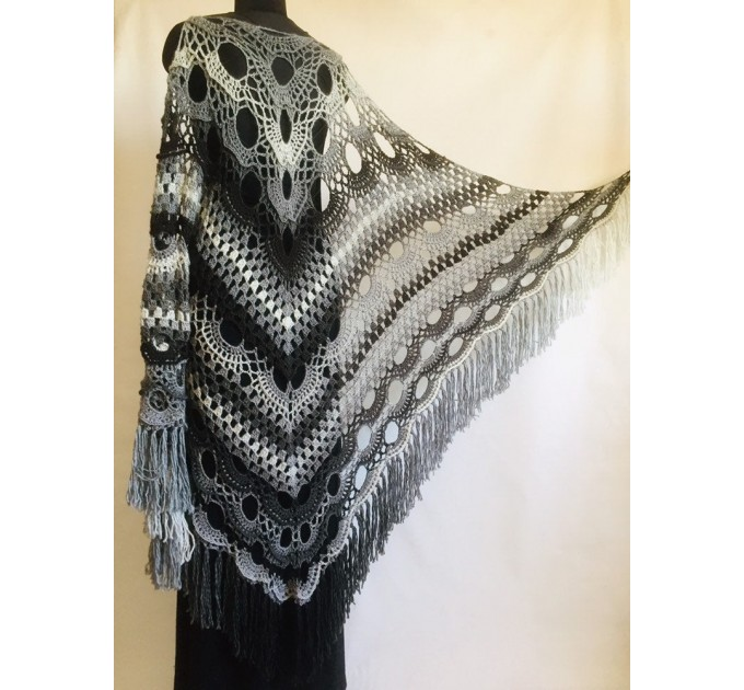 Crochet Shawl Wraps Outlander knitted festival woman Burnt Orange Triangle Scarf Fringe Multicolor Lace Evening Shawl Gray White Blue  Shawl / Wraps  5