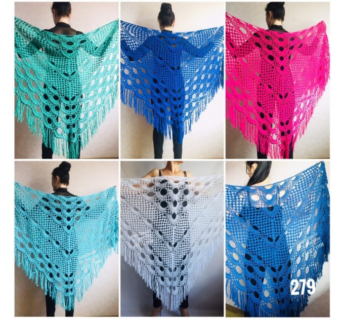 Crochet shawls wraps hand knit triangle scarf woman handmade knitted shawl openwork lace wedding shawl brooch gift, Black Gray Red White  Shawl / Wraps  4