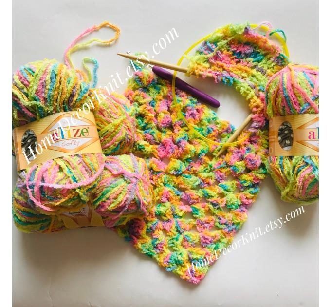 ALIZE SOFTY Yarn Gradient Yarn Multicolor Yarn For Kids Rainbow Yarn Plush Yarn Baby Yarn Soft Yarn Color Mix Knitting Yarn  Yarn  5