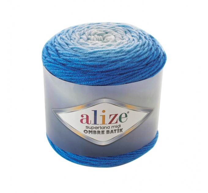 SUPERLANA MIDI OMBRE Batik Alize Yarn Wool Yarn Gradient Yarn Acrylic Wool Multicolor Yarn Rainbow Yarn Crochet Poncho Crochet Yarn  Yarn  2