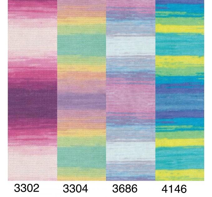 Alize COTTON GOLD BATIK Cotton Yarn Gradient Yarn Acrylic Yarn Multicolor Yarn Rainbow Yarn Crochet Yarn Soft Yarn Knitting Sweater Cardigan  Yarn  3