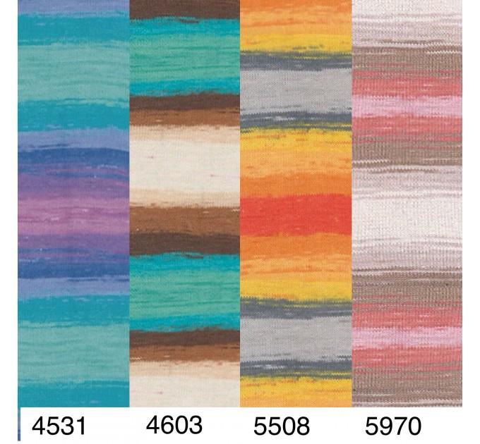 Alize COTTON GOLD BATIK Cotton Yarn Gradient Yarn Acrylic Yarn Multicolor Yarn Rainbow Yarn Crochet Yarn Soft Yarn Knitting Sweater Cardigan  Yarn  5