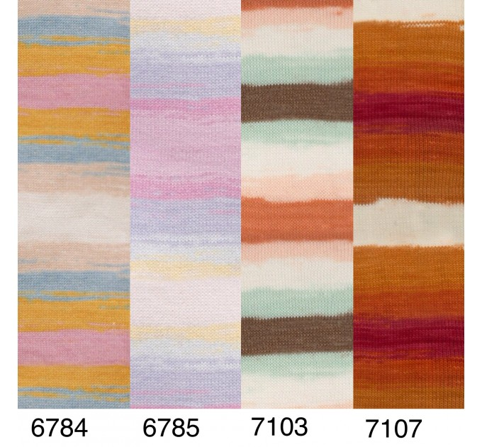 Alize COTTON GOLD BATIK Cotton Yarn Gradient Yarn Acrylic Yarn Multicolor Yarn Rainbow Yarn Crochet Yarn Soft Yarn Knitting Sweater Cardigan  Yarn  6