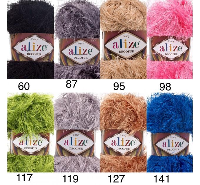 ALIZE DECOFUR Yarn Eyelash Yarn Shaggy Yarn Faux Fur Perfect For Clothes Decoration Carnival Costumes Sparkle Crochet Shawl Scarf Fur Yarn  Yarn  3