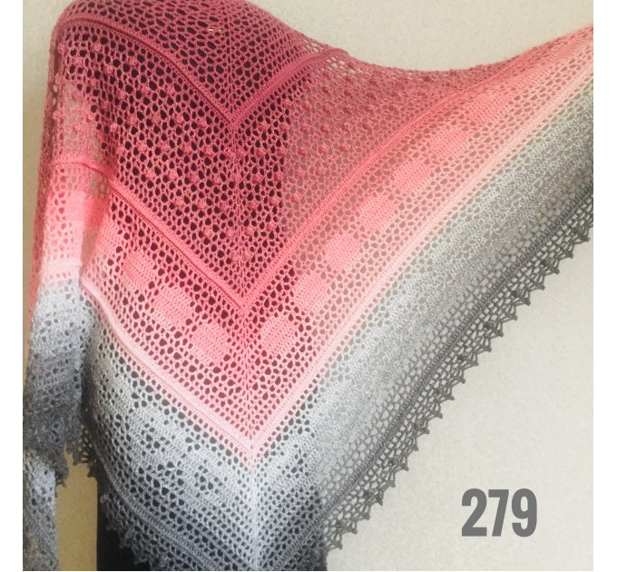 Crochet Shawl Wraps Pink Shawl Lace Boho Triangle Scarf for Women Rainbow Floral Cotton Hand Knit Shawl Large Vegan  Shawl / Wraps