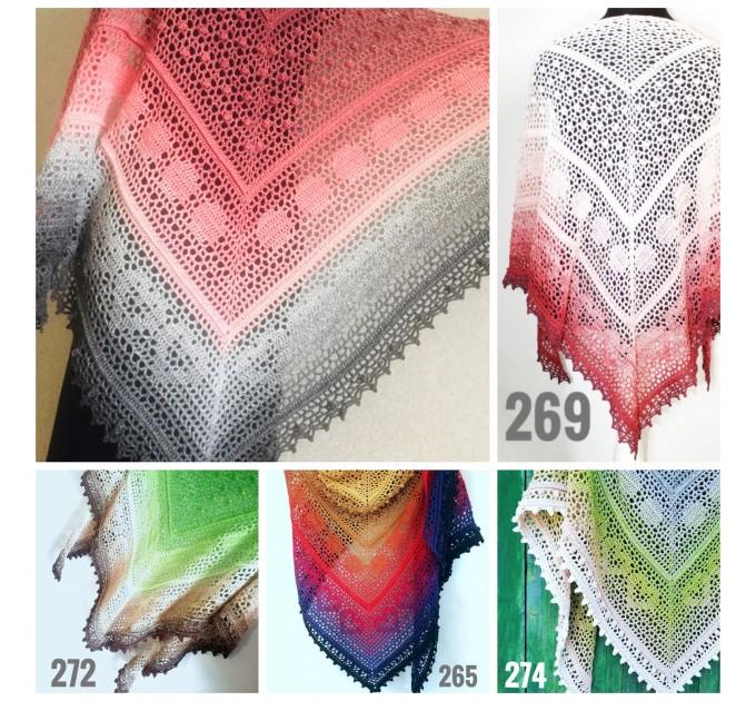 Crochet Shawl Wraps Pink Shawl Lace Boho Triangle Scarf for Women Rainbow Floral Cotton Hand Knit Shawl Large Vegan  Shawl / Wraps  2