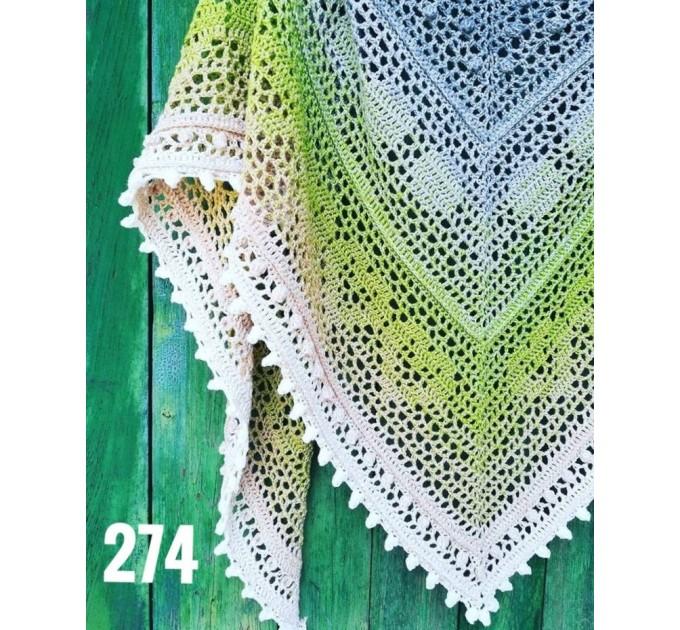 Crochet Shawl Wraps Pink Shawl Lace Boho Triangle Scarf for Women Rainbow Floral Cotton Hand Knit Shawl Large Vegan  Shawl / Wraps  4