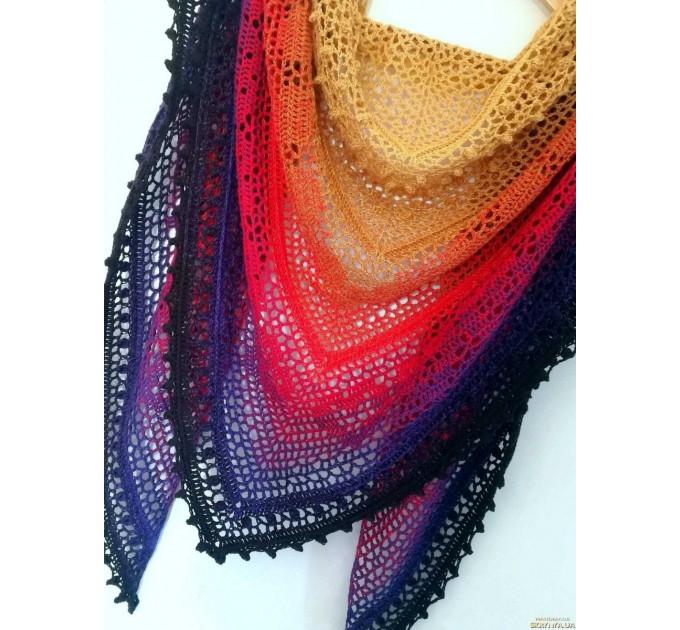 Crochet Shawl Wraps Pink Shawl Lace Boho Triangle Scarf for Women Rainbow Floral Cotton Hand Knit Shawl Large Vegan  Shawl / Wraps  6