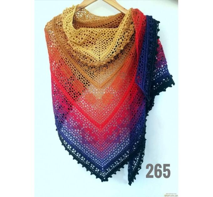 Crochet Shawl Wraps Pink Shawl Lace Boho Triangle Scarf for Women Rainbow Floral Cotton Hand Knit Shawl Large Vegan  Shawl / Wraps  7