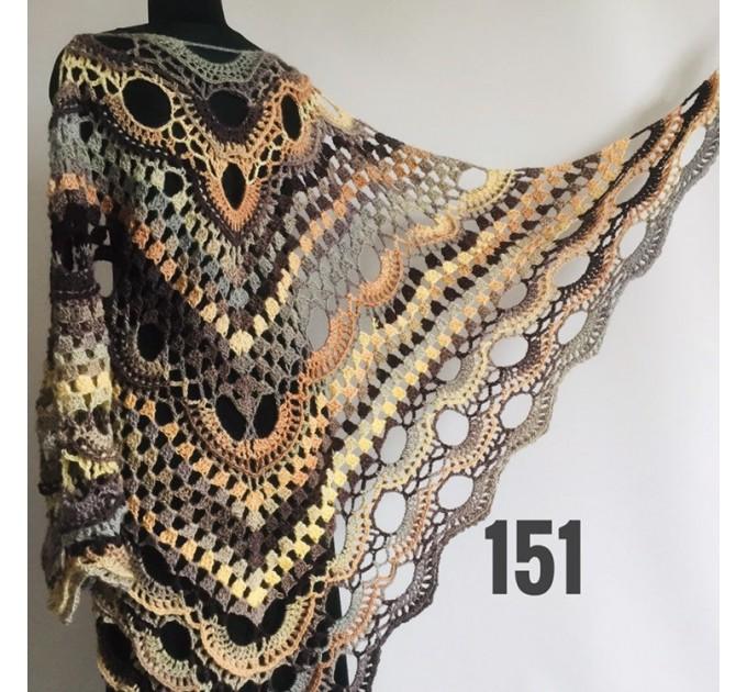 Beige Crochet Shawl Wrap Fringe Gray Triangle Boho Shawl Colorful Rainbow Shawl Big Multicolor Hand Knitted Evening Shawl Black Green Blue  Shawl / Wraps  5
