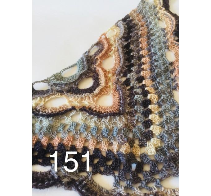 Beige Crochet Shawl Wrap Fringe Gray Triangle Boho Shawl Colorful Rainbow Shawl Big Multicolor Hand Knitted Evening Shawl Black Green Blue  Shawl / Wraps  3