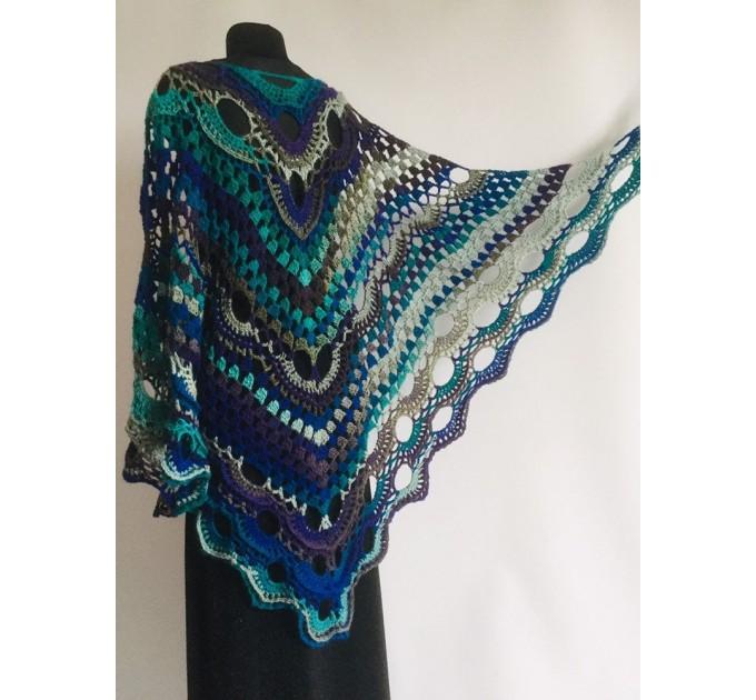 Beige Crochet Shawl Wrap Fringe Gray Triangle Boho Shawl Colorful Rainbow Shawl Big Multicolor Hand Knitted Evening Shawl Black Green Blue  Shawl / Wraps  4