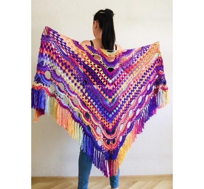 Beige Crochet Shawl Wrap Fringe Gray Triangle Boho Shawl Colorful Rainbow Shawl Big Multicolor Hand Knitted Evening Shawl Black Green Blue  Shawl / Wraps  10