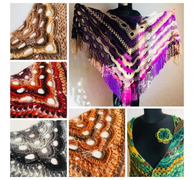 Beige Crochet Shawl Wrap Fringe Gray Triangle Boho Shawl Colorful Rainbow Shawl Big Multicolor Hand Knitted Evening Shawl Black Green Blue  Shawl / Wraps  7