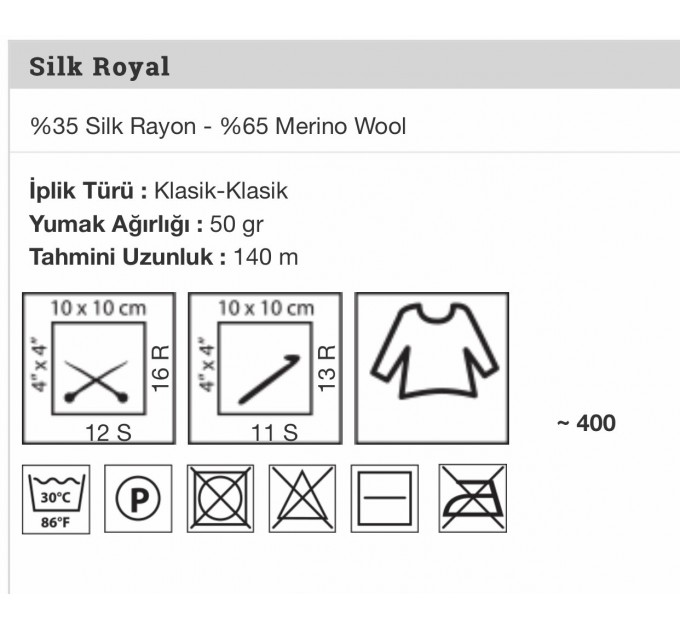 YARNART SILK ROYAL Yarn, Merino Wool Yarn, Blend Wool, Silky Wool, Silk Yarn, Wool Yarn, Soft Yarn, Rayon Yarn, Crochet Rayon Yarn  Yarn  4
