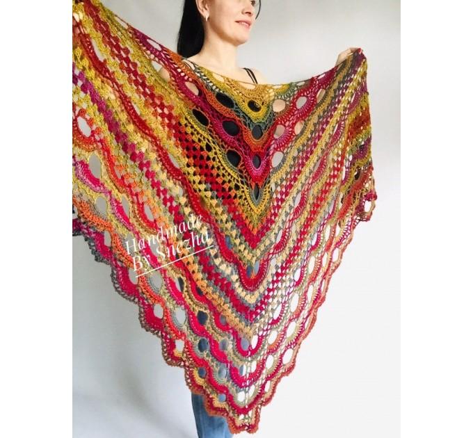 Crochet Shawl Fringe Wraps OOAK Boho Lace Triangle Warm Rainbow Shawl Mom Scarf Women Floral Hand Knit pin brooch, Large Big Outlander Green  Shawl / Wraps