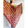 Crochet Shawl Fringe Wraps OOAK Boho Lace Triangle Warm Rainbow Shawl Mom Scarf Women Floral Hand Knit pin brooch, Large Big Outlander Green