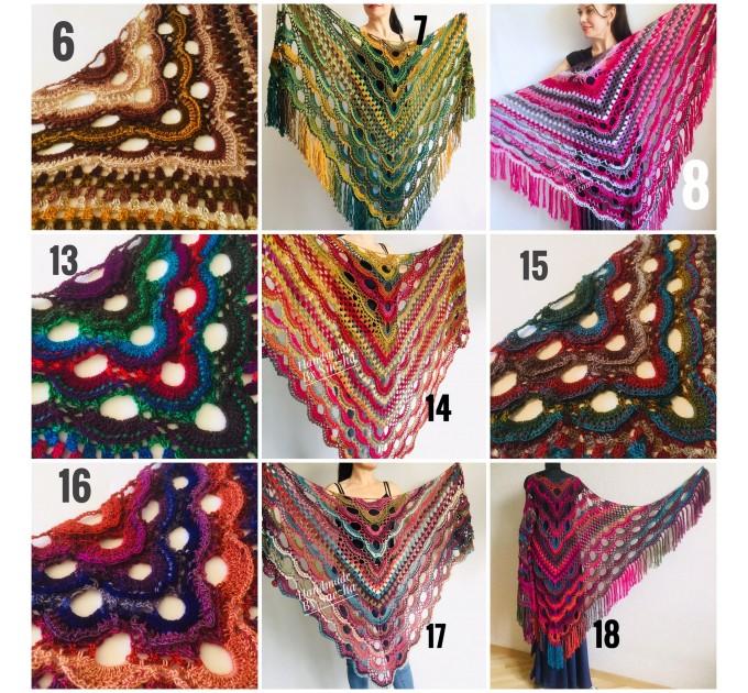 Crochet Shawl Fringe Wraps OOAK Boho Lace Triangle Warm Rainbow Shawl Mom Scarf Women Floral Hand Knit pin brooch, Large Big Outlander Green  Shawl / Wraps  2