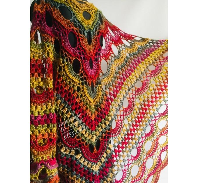 Crochet Shawl Fringe Wraps OOAK Boho Lace Triangle Warm Rainbow Shawl Mom Scarf Women Floral Hand Knit pin brooch, Large Big Outlander Green  Shawl / Wraps  3
