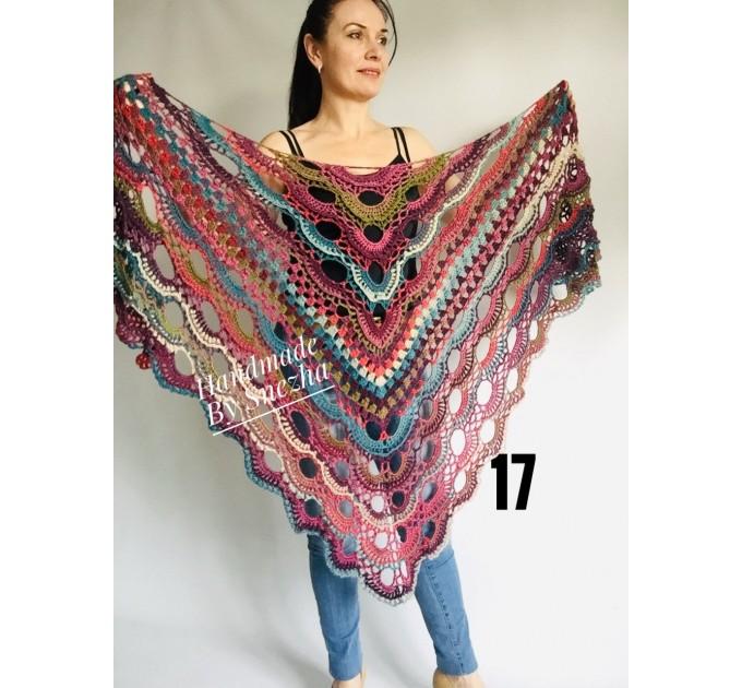 Crochet Shawl Fringe Wraps OOAK Boho Lace Triangle Warm Rainbow Shawl Mom Scarf Women Floral Hand Knit pin brooch, Large Big Outlander Green  Shawl / Wraps  4
