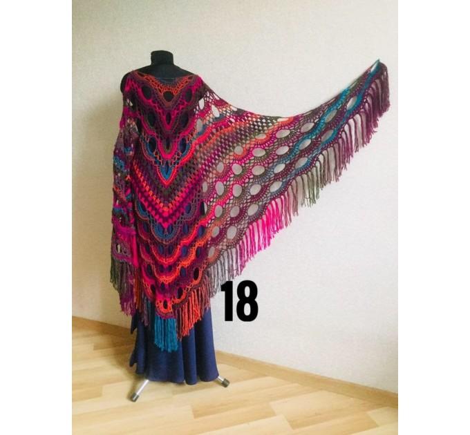 Crochet Shawl Fringe Wraps OOAK Boho Lace Triangle Warm Rainbow Shawl Mom Scarf Women Floral Hand Knit pin brooch, Large Big Outlander Green  Shawl / Wraps  5