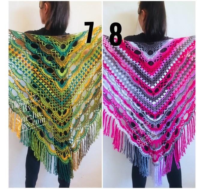 Crochet Shawl Fringe Wraps OOAK Boho Lace Triangle Warm Rainbow Shawl Mom Scarf Women Floral Hand Knit pin brooch, Large Big Outlander Green  Shawl / Wraps  6