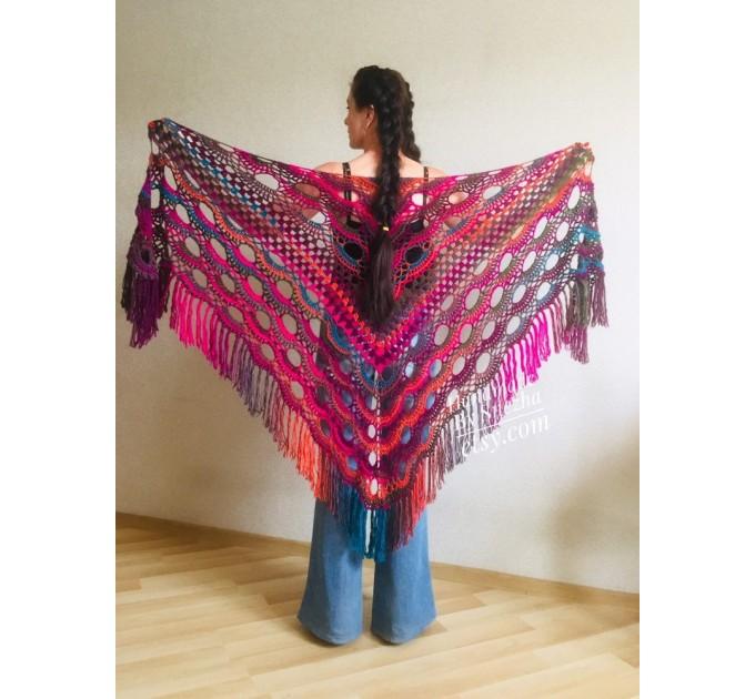 Crochet Shawl Fringe Wraps OOAK Boho Lace Triangle Warm Rainbow Shawl Mom Scarf Women Floral Hand Knit pin brooch, Large Big Outlander Green  Shawl / Wraps  7