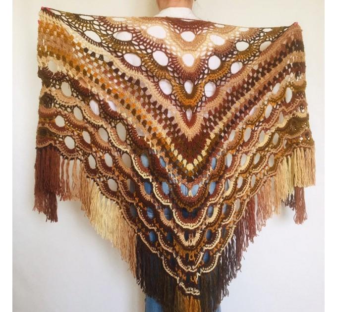 Crochet Shawl Fringe Wraps OOAK Boho Lace Triangle Warm Rainbow Shawl Mom Scarf Women Floral Hand Knit pin brooch, Large Big Outlander Green  Shawl / Wraps  8
