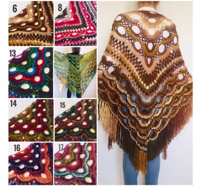 Crochet Shawl Fringe Wraps OOAK Boho Lace Triangle Warm Rainbow Shawl Mom Scarf Women Floral Hand Knit pin brooch, Large Big Outlander Green  Shawl / Wraps  9