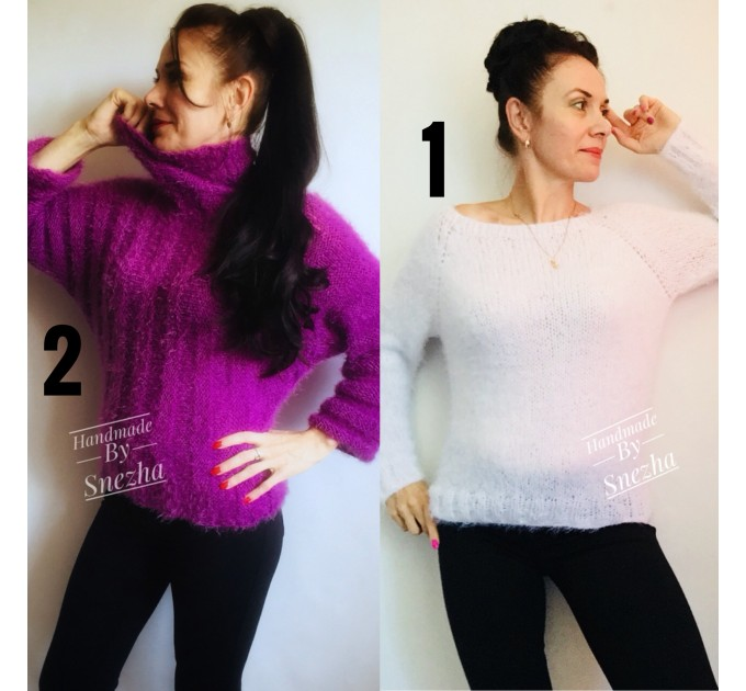 White MOHAIR SWEATER Poncho Woman Crochet Poncho Loose Fuzzy Hand Knit Sweater Fuzzy Pullover Oversize Cable Poncho Sweater White Red-Black  Sweater  4