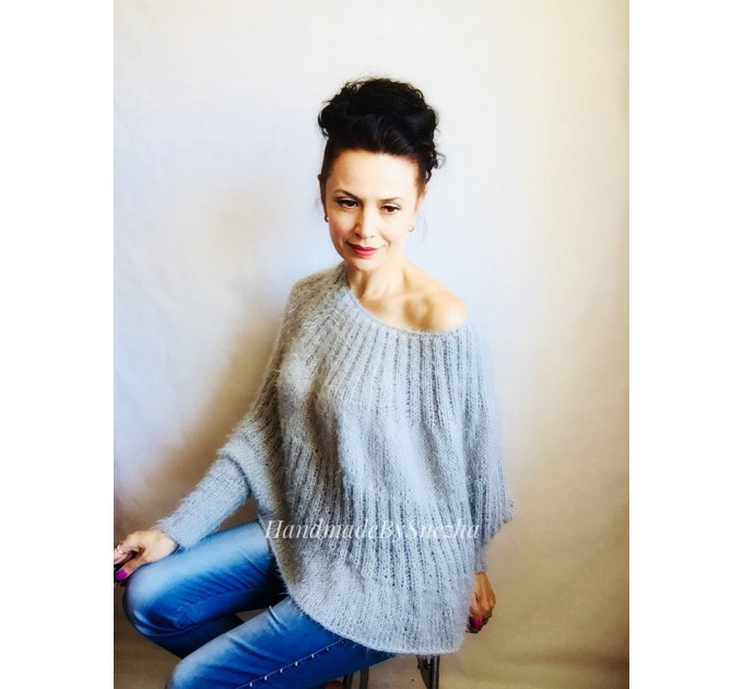 White MOHAIR SWEATER Poncho Woman Crochet Poncho Loose Fuzzy Hand Knit Sweater Fuzzy Pullover Oversize Cable Poncho Sweater White Red-Black  Sweater  5
