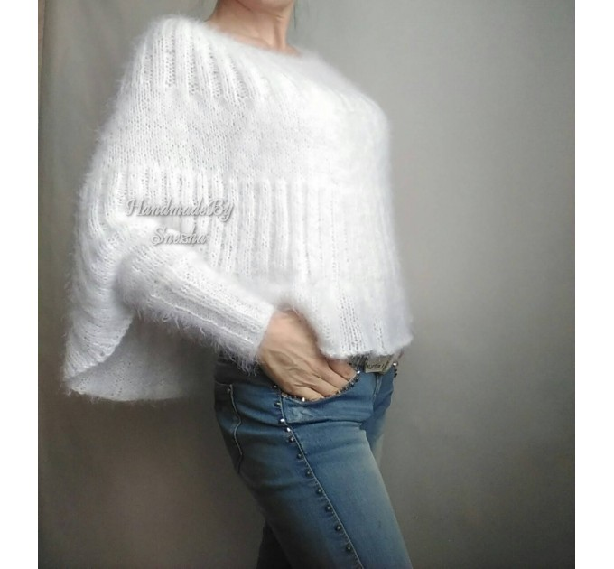 White MOHAIR SWEATER Poncho Woman Crochet Poncho Loose Fuzzy Hand Knit Sweater Fuzzy Pullover Oversize Cable Poncho Sweater White Red-Black  Sweater  7