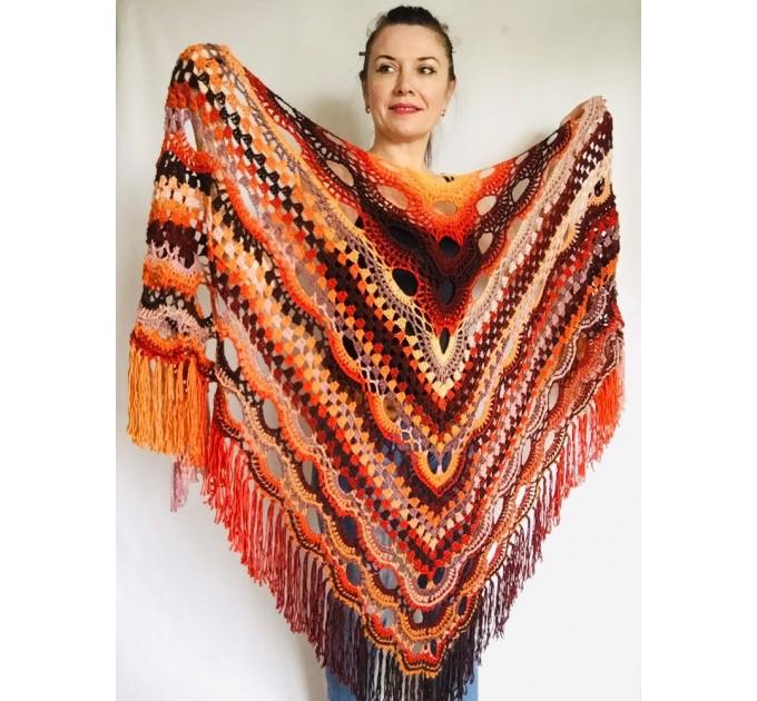 Outlander Crochet Shawl Wraps Fringe Burnt Orange Gift pin brooch Triangle Boho Rainbow Shawl Big Multicolor Lace Hand Knitted Evening Shawl  Shawl / Wraps