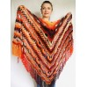 Outlander Crochet Shawl Wraps Fringe Burnt Orange Gift pin brooch Triangle Boho Rainbow Shawl Big Multicolor Lace Hand Knitted Evening Shawl