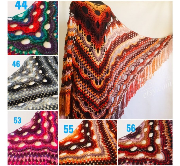 Outlander Crochet Shawl Wraps Fringe Burnt Orange Gift pin brooch Triangle Boho Rainbow Shawl Big Multicolor Lace Hand Knitted Evening Shawl  Shawl / Wraps  2