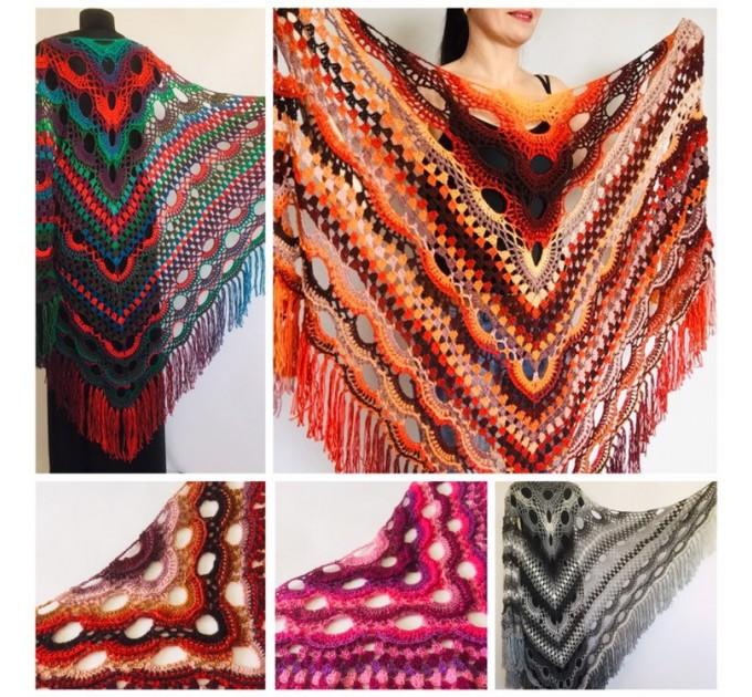 Outlander Crochet Shawl Wraps Fringe Burnt Orange Gift pin brooch Triangle Boho Rainbow Shawl Big Multicolor Lace Hand Knitted Evening Shawl  Shawl / Wraps  3