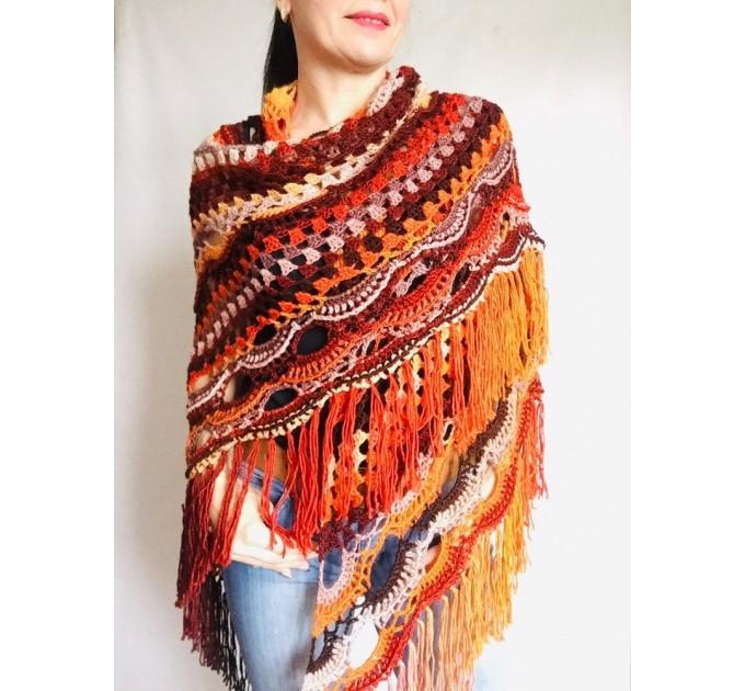 Outlander Crochet Shawl Wraps Fringe Burnt Orange Gift pin brooch Triangle Boho Rainbow Shawl Big Multicolor Lace Hand Knitted Evening Shawl  Shawl / Wraps  4