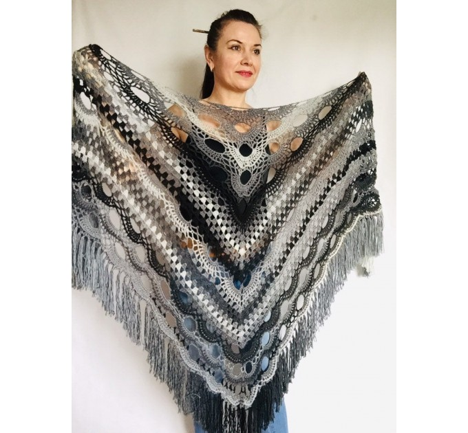 Outlander Crochet Shawl Wraps Fringe Burnt Orange Gift pin brooch Triangle Boho Rainbow Shawl Big Multicolor Lace Hand Knitted Evening Shawl  Shawl / Wraps  5