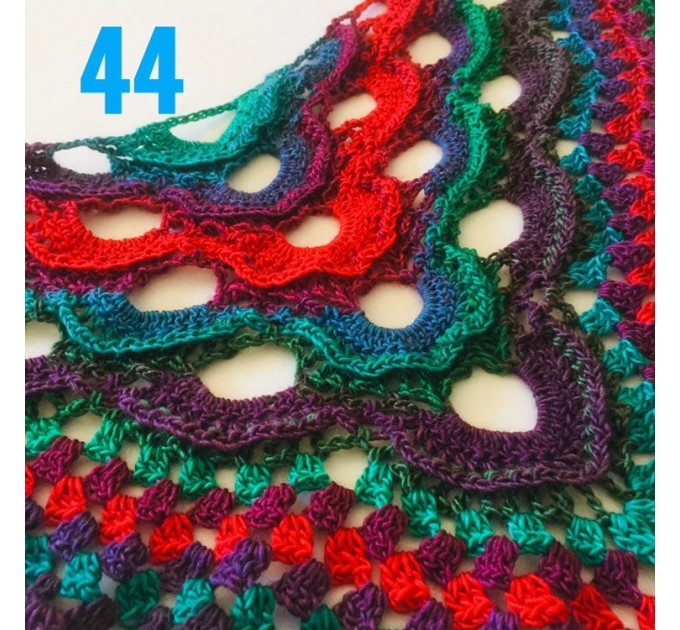 Outlander Crochet Shawl Wraps Fringe Burnt Orange Gift pin brooch Triangle Boho Rainbow Shawl Big Multicolor Lace Hand Knitted Evening Shawl  Shawl / Wraps  8