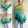 Crochet Poncho for Women Boho Shawl Big Size Vintage Rainbow Cotton Knit Cape Hippie Gift for Her Bohemian Vibrant Colors Boat Neck