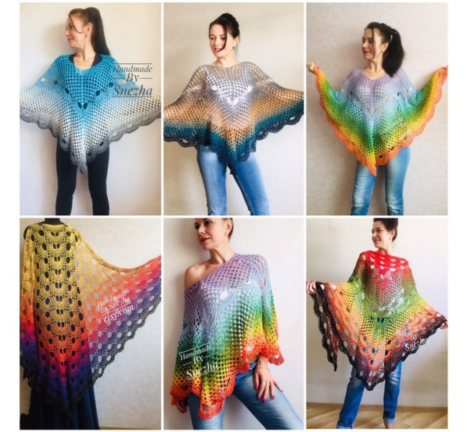 Crochet Poncho for Women Boho Shawl Big Size Vintage Rainbow Cotton Knit Cape Hippie Gift for Her Bohemian Vibrant Colors Boat Neck  Poncho  5
