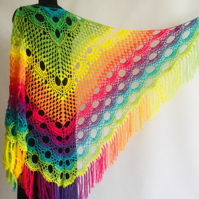 Crochet Shawl Wraps Fringe Mohair Gift brooch Triangular Rainbow Scarf Festival Colorful Knit Wool Multicolor Shawl Lace Warm Boho Evening