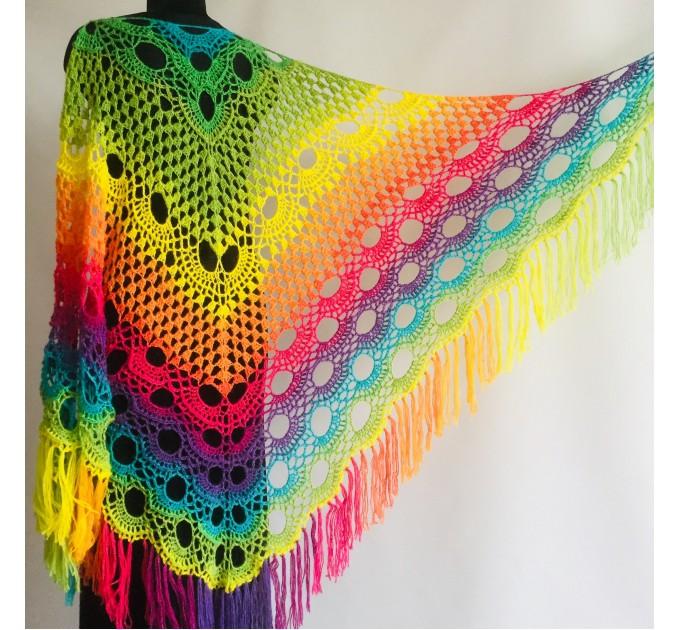 Crochet Shawl Wraps Fringe Mohair Gift brooch Triangular Rainbow Scarf Festival Colorful Knit Wool Multicolor Shawl Lace Warm Boho Evening  Shawl / Wraps